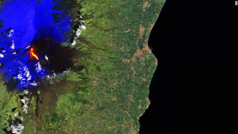 A satellite image of Mount Etna erupting on Thursday, March 16, 2017; courtesy Copernicus Sentinel-2A satellite.