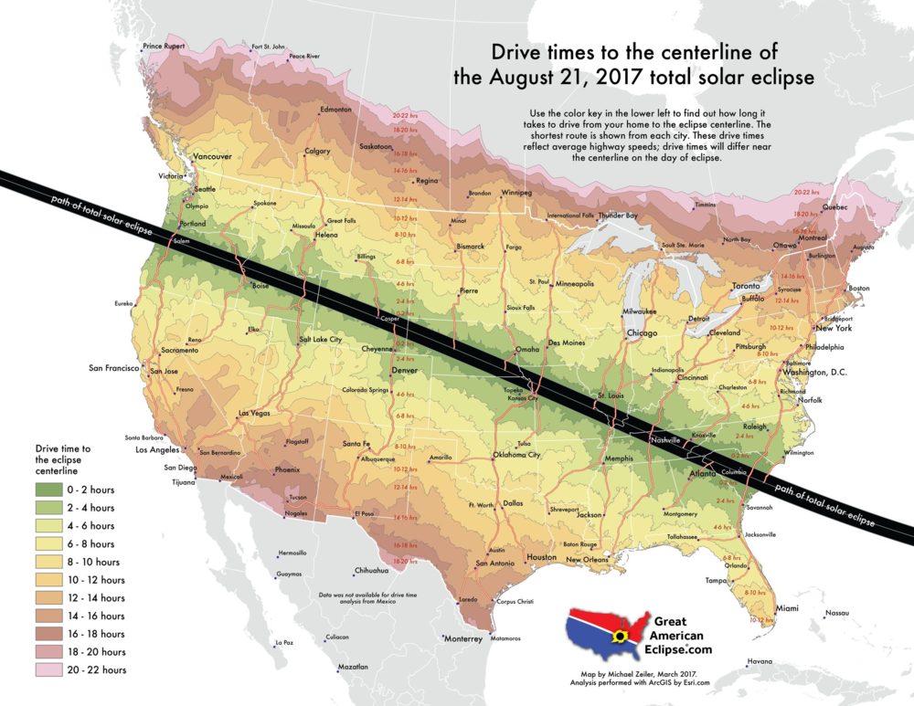 Drive times are shown on this map from all parts of the country to the centerline of the total solar eclipse on August 21, 2017