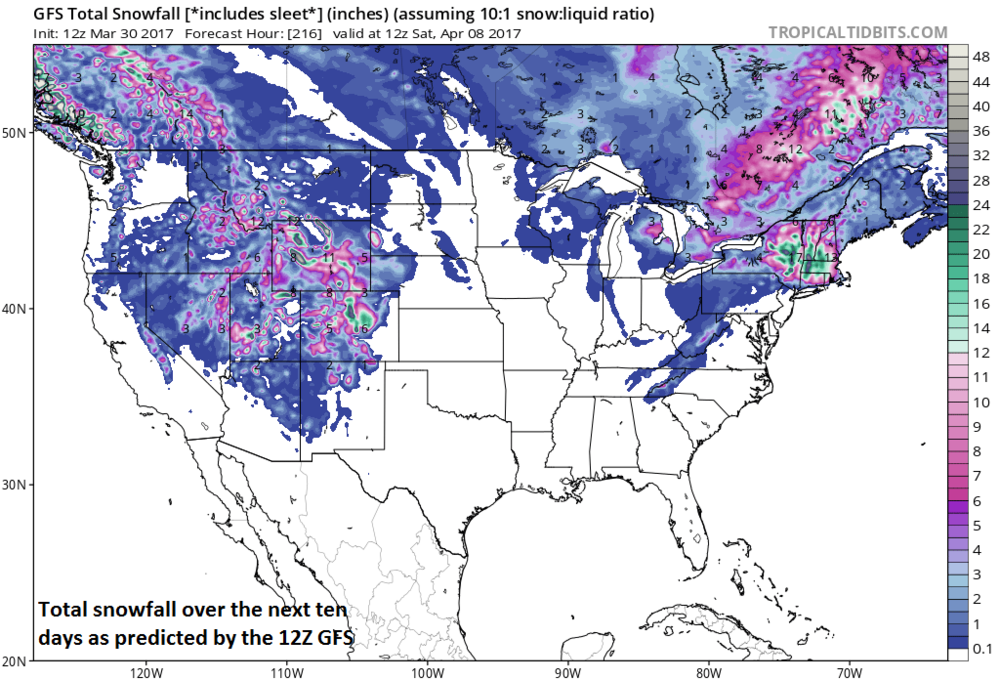 Total snowfall over the next ten days as predicted by the 12Z GFS; map courtesy tropicaltidbits.com, NOAA/EMC