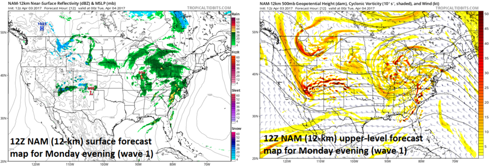 12Z NAM forecast maps for this evening at the surface (left) and 500-mb level (right); courtesy tropicaltidbits.com, NOAA/EMC