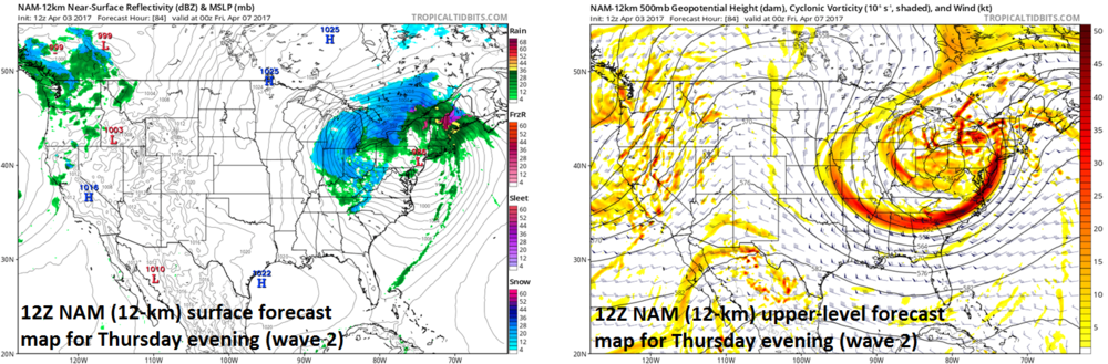 12Z NAM forecast maps for Thursday evening at the surface (left) and 500-mb level (right); courtesy tropicaltidbits.com, NOAA/EMC