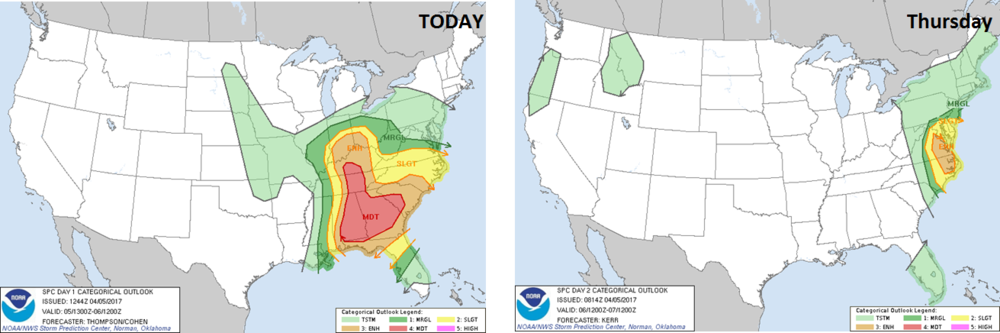 Severe weather threat shifts from the Southeast US today (left) to the Mid-Atlantic region on Thursday (right); forecast maps courtesy NOAA/SPC