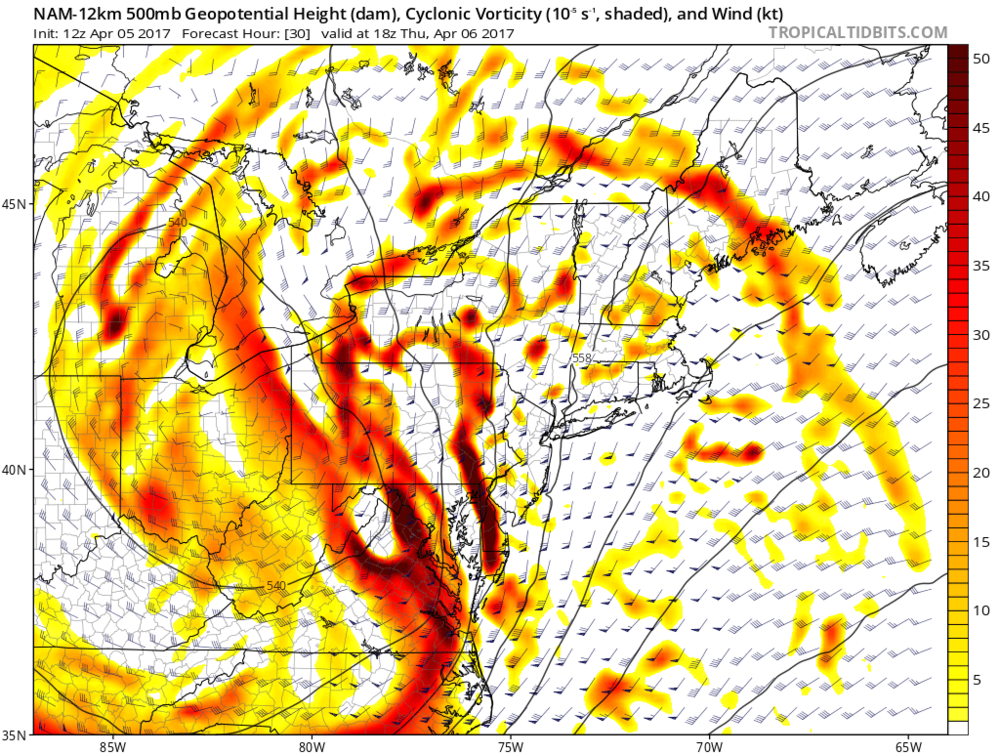 12Z NAM forecast map for early tomorrow afternoon showing deep upper-level energy in the Mid-Atlantic region; map courtesy tropicaltidbits.com, NOAA/EMC
