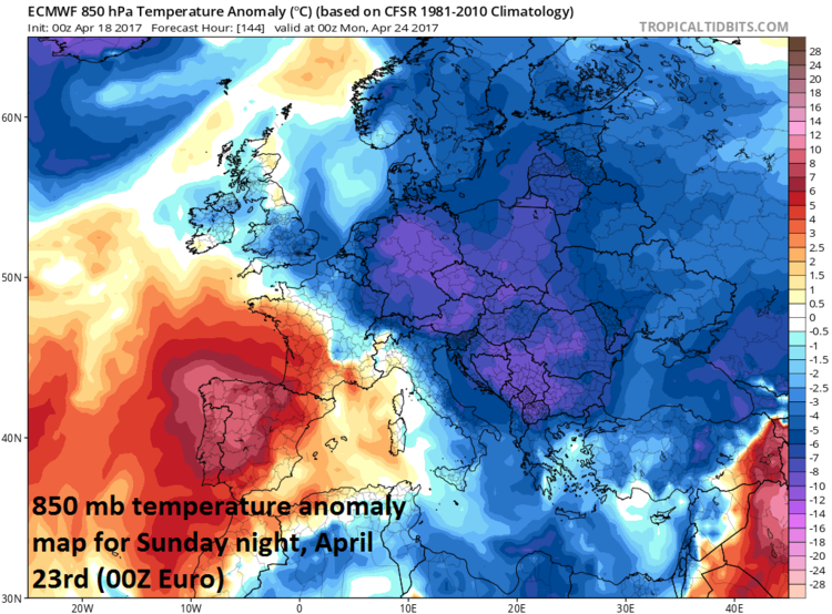 Lower atmosphere (850 mb, ~5000 feet) temperature anomaly forecast map for Sunday night, April 23rd across Europe by the 00Z Euro model; map courtesy tropicaltidbits.com