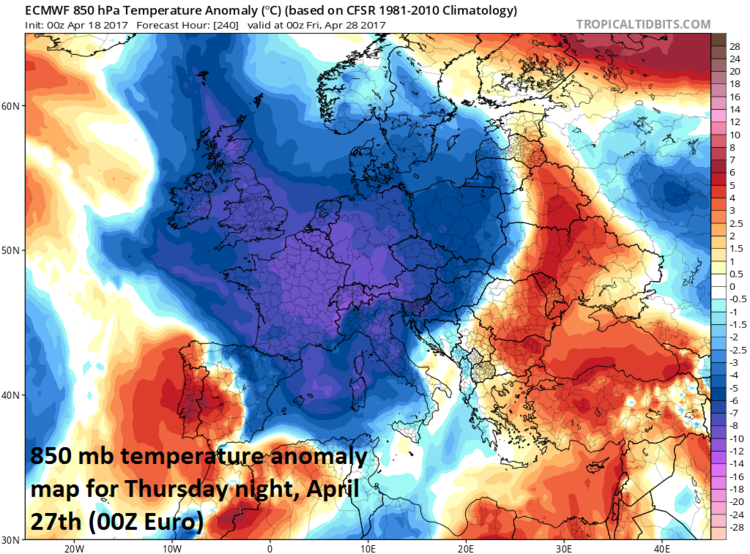 Lower atmosphere (~5000 feet) temperature anomaly forecast map for Thursday night, April 27th across Europe by the 00Z Euro model; map courtesy tropicaltidbits.com