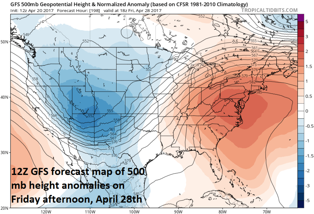 Deep trough of low pressure forms in the western US late next week at the same time strong upper-level ridging unfolds in the eastern US; map courtesy tropicaltidbits.com, NOAA/EMC