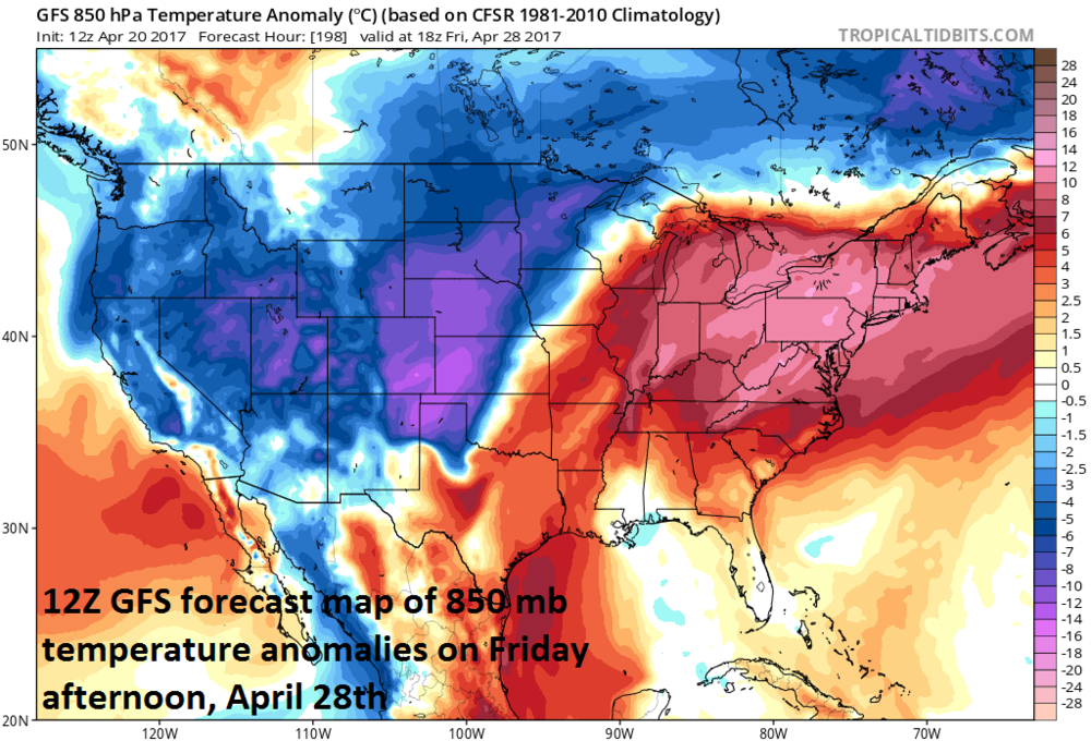 Much colder-than-normal temperatures in the western US late next week at the same time much warmer-than-normal conditions unfold in the eastern US; map courtesy tropicaltidbits.com, NOAA/EMC