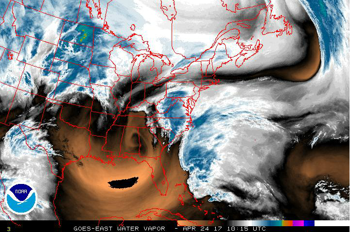 Water vapor image shows circular area associated with the deep upper-level low near the Georgia/Alabama border (darker region) and an influx of moisture from western Atlantic (blue area); courtesy NOAA