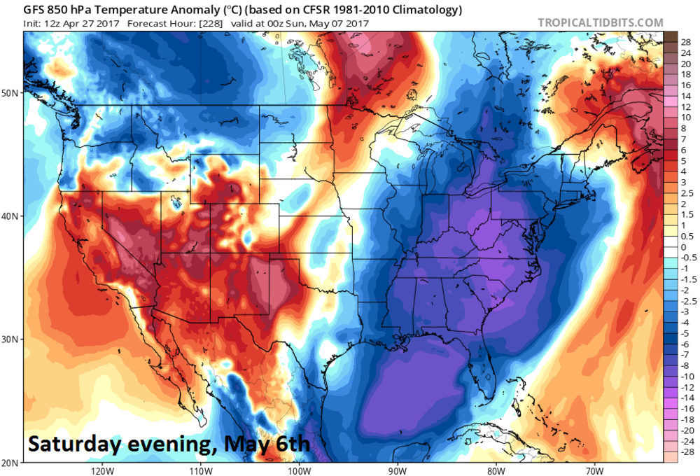 12Z GFS temperature anomaly forecast map at 850 millibars (~5000 feet) for Saturday evening, May 6th with colder-than-normal in the eastern US; map courtesy tropicaltidbits.com, NOAA/EMC