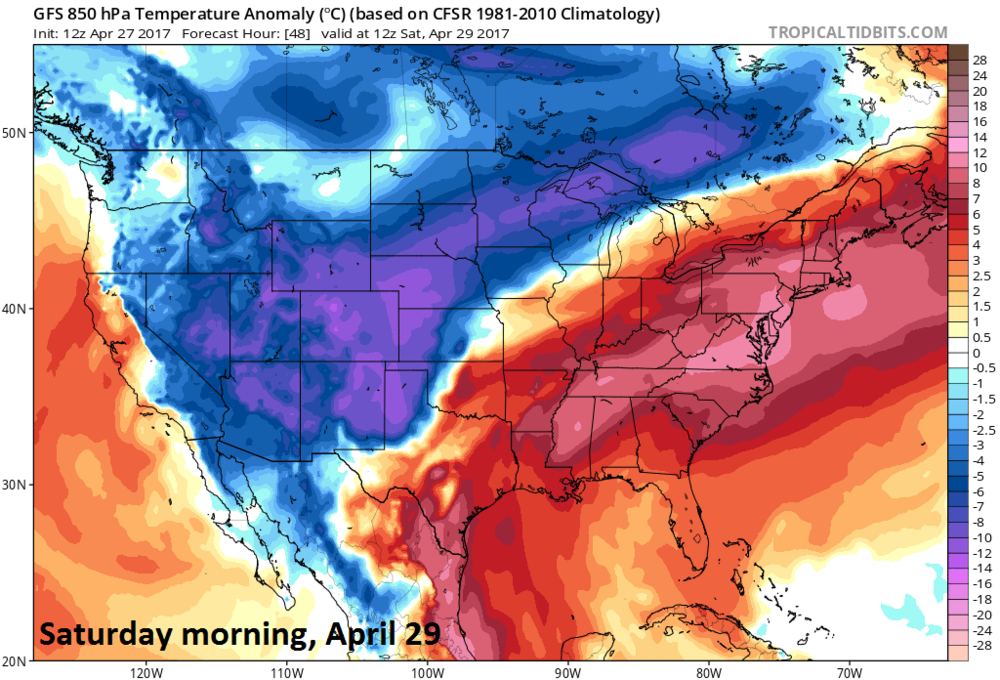12Z GFS temperature anomaly forecast map at 850 millibars (~5000 feet) for Saturday morning, April 29th with warmer-than-normal in the eastern US; map courtesy tropicaltidbits.com, NOAA/EMC