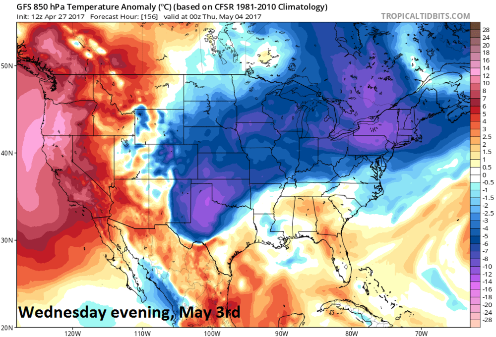 12Z GFS temperature anomaly forecast map at 850 millibars (~5000 feet) for Wednesday eveing, May 3rd with colder-than-normal conditions in the Mid-Atlantic region; map courtesy tropicaltidbits.com, NOAA/EMC