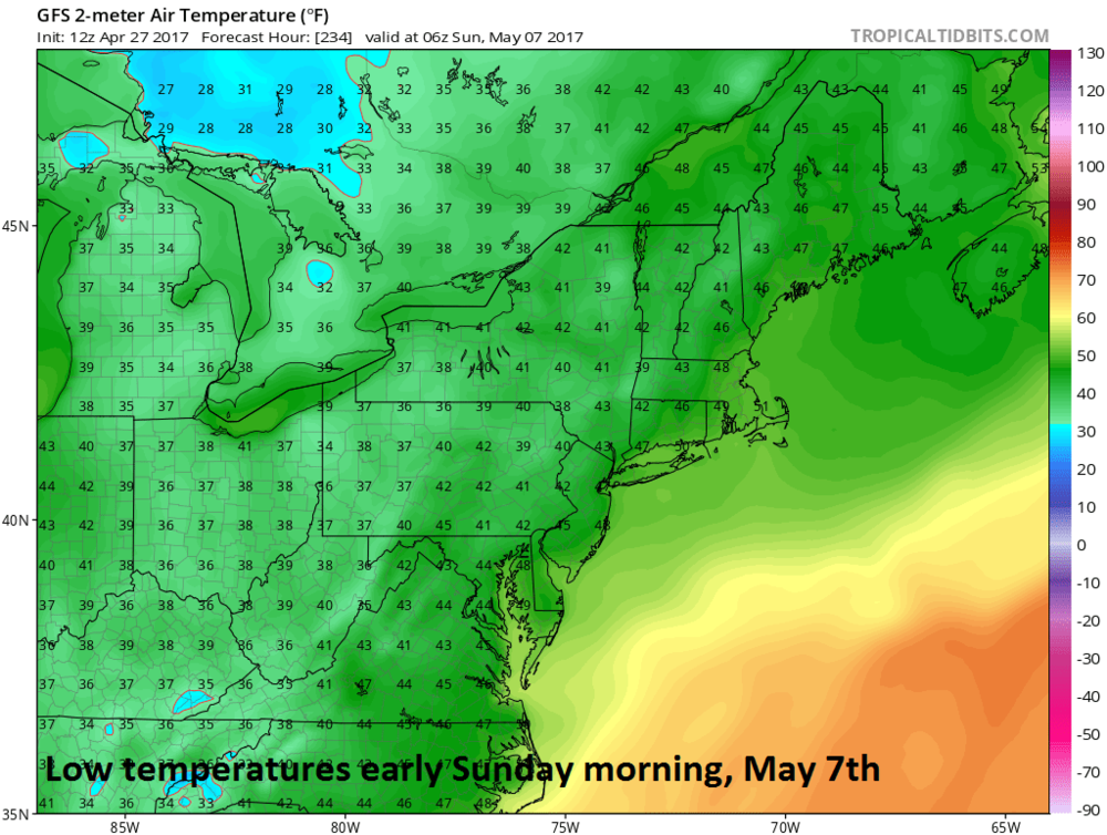 12Z GFS surface temperature forecast map for early Sunday morning, May 7th; map courtesy tropicaltidbits.com, NOAA/EMC