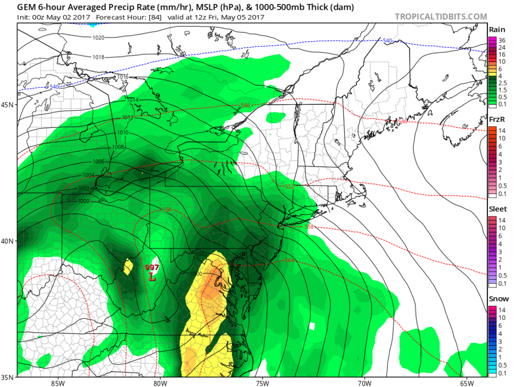 00Z Canadian model surface forecast map for Friday morning with heavy rain along the I-95 corridor (indicated by yellow/orange region) and strong low pressure centered over West Virginia; map courtesy tropicaltidbits.com