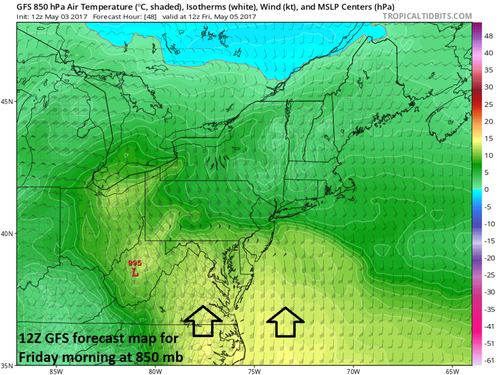 12Z GFS forecast map of 850 mb height anomalies for Friday morning; map courtesy tropicaltidbits.com, NOAA/EMC