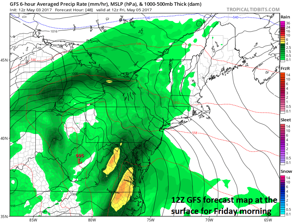 12Z GFS forecast map of 500 mb height anomalies for Friday morning; map courtesy tropicaltidbits.com, NOAA/EMC