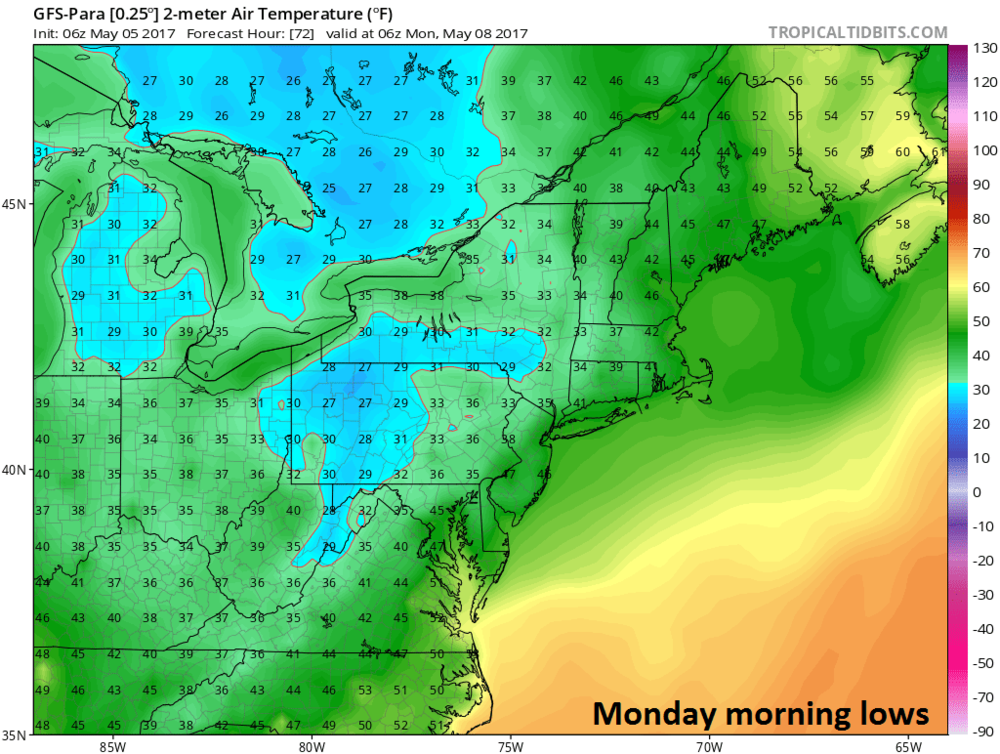 06Z GFS-parallel forecast map of Monday morning low temperatures; courtesy tropicaltidbits.com, NOAA/EMC