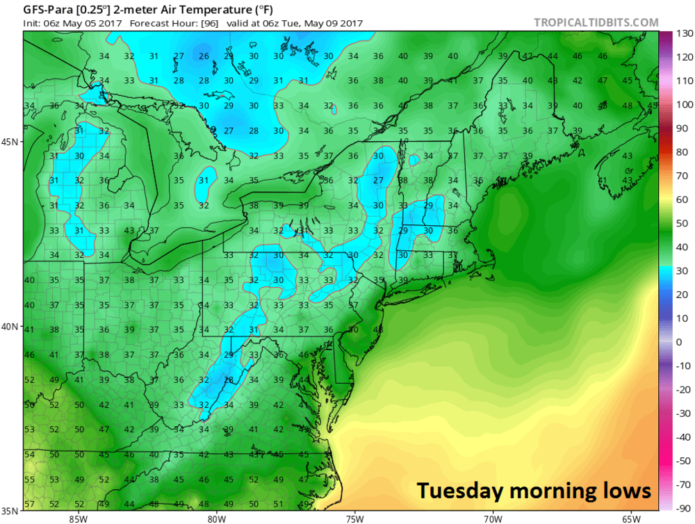 06Z GFS-parallel forecast map of Tuesday morning low temperatures; courtesy tropicaltidbits.com, NOAA/EMC