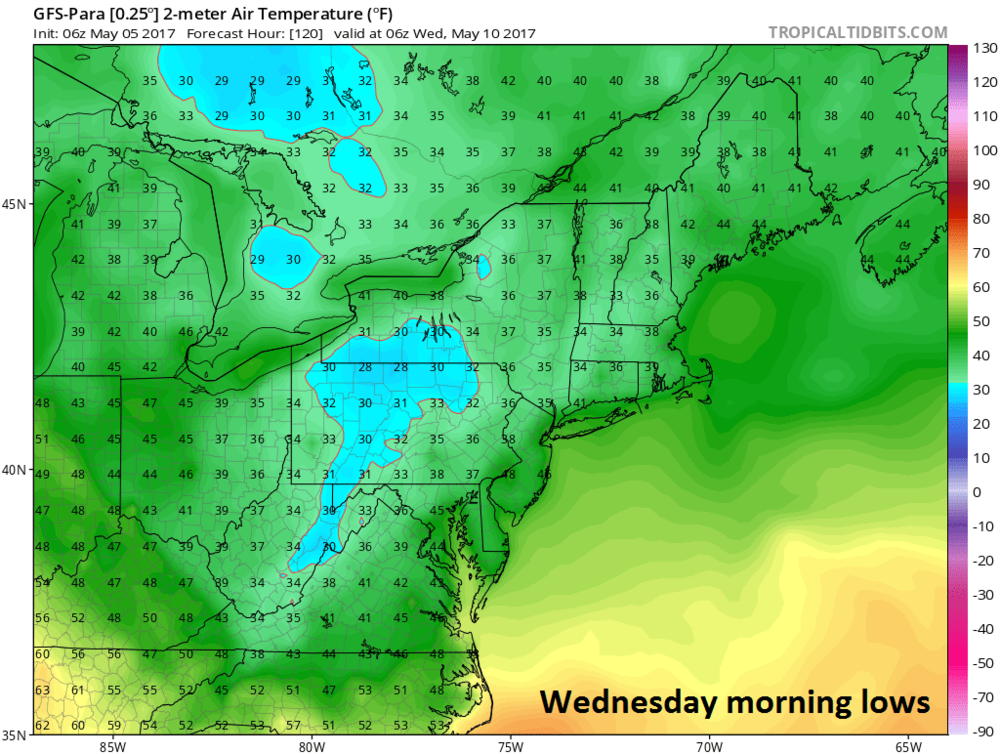 06Z GFS-parallel forecast map of Wednesday morning low temperatures; courtesy tropicaltidbits.com, NOAA/EMC