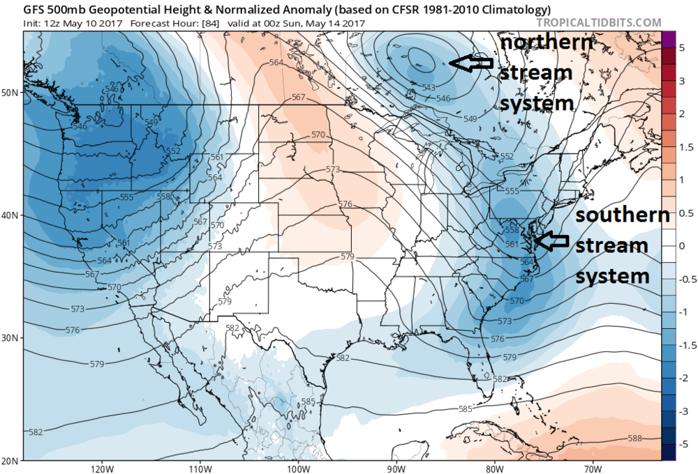 12Z GFS forecast map of 500 mb height anomalies on Saturday evening; map courtesy tropicaltidbits.com, NOAA/EMC