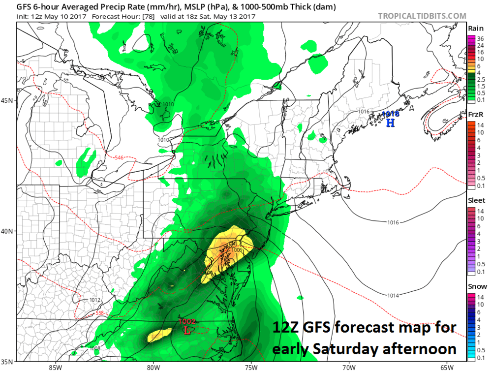 12Z GFS surface forecast map for 2PM Saturday; courtesy tropicaltidbits.com, NOAA/EMC