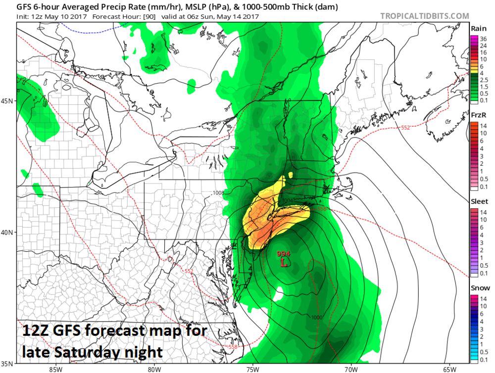 12Z GFS surface forecast map for 2AM Sunday morning; courtesy tropicaltidbits.com, NOAA/EMC