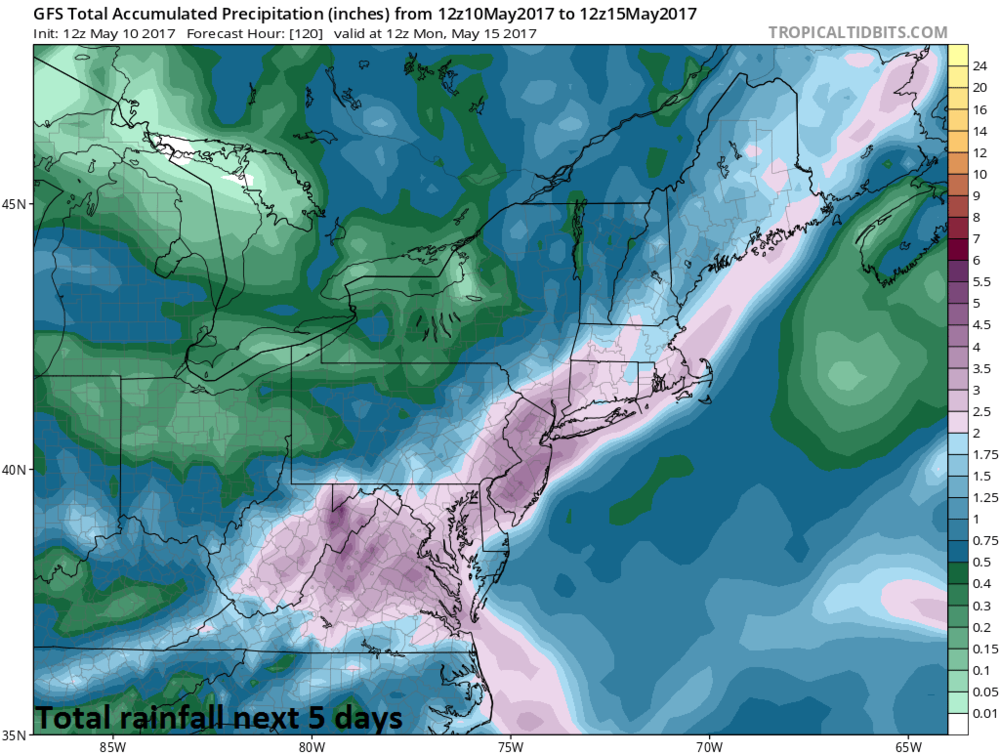 12Z GFS total rainfall forecast map for the next five days which is made up of mostly of coastal storm-produced precipitation; courtesy tropicaltidbits.com, NOAA/EMC