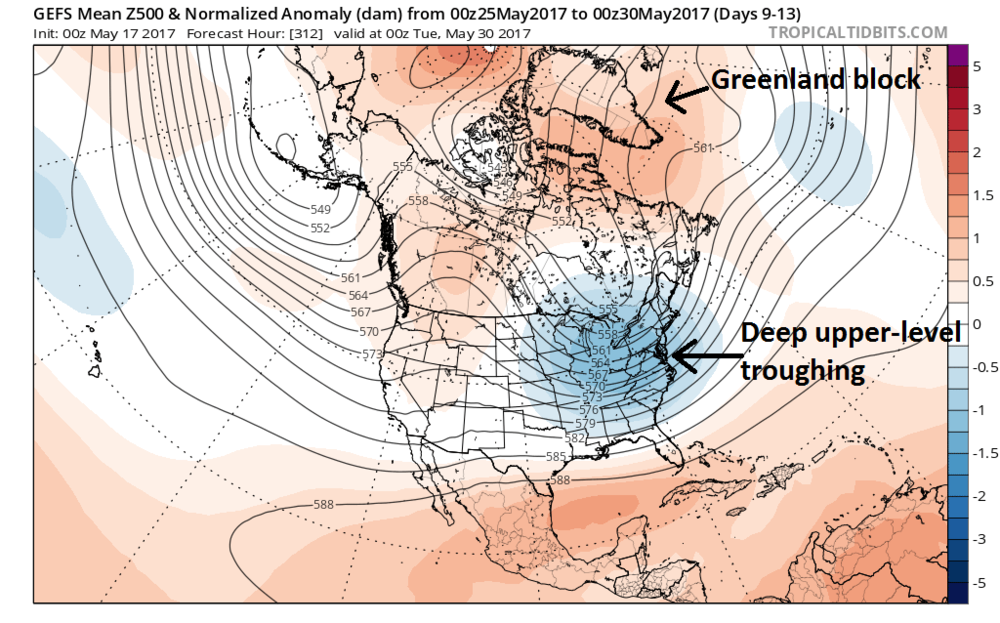 00Z GEFS forecast map of 5-day average 500 mb height anomalies for the period of May 25th to May 30th; map courtesy tropicaltidbits.com, NOAA/EMC