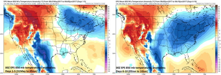 00Z EPS 850 mb temperature anomaly forecast for days 1-5 (left) and 6-10 (right); maps courtesy tropicaltidbits.com