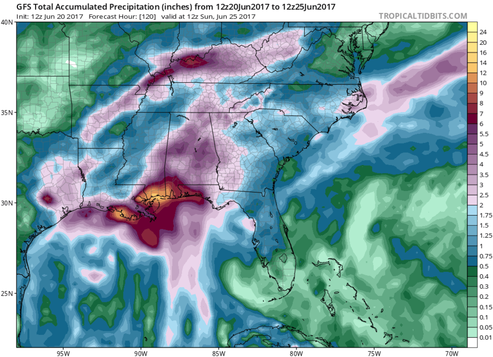 Total rainfall amounts across the SE US during the next five days; courtesy NOAA/GFS; tropicaltidbits.com