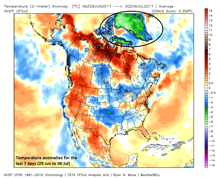 Temperature anomalies for the past 7 days with much colder-than-normal Greenland seen in the circled region; map courtesy Weather Bell Analytics at weatherbell.com