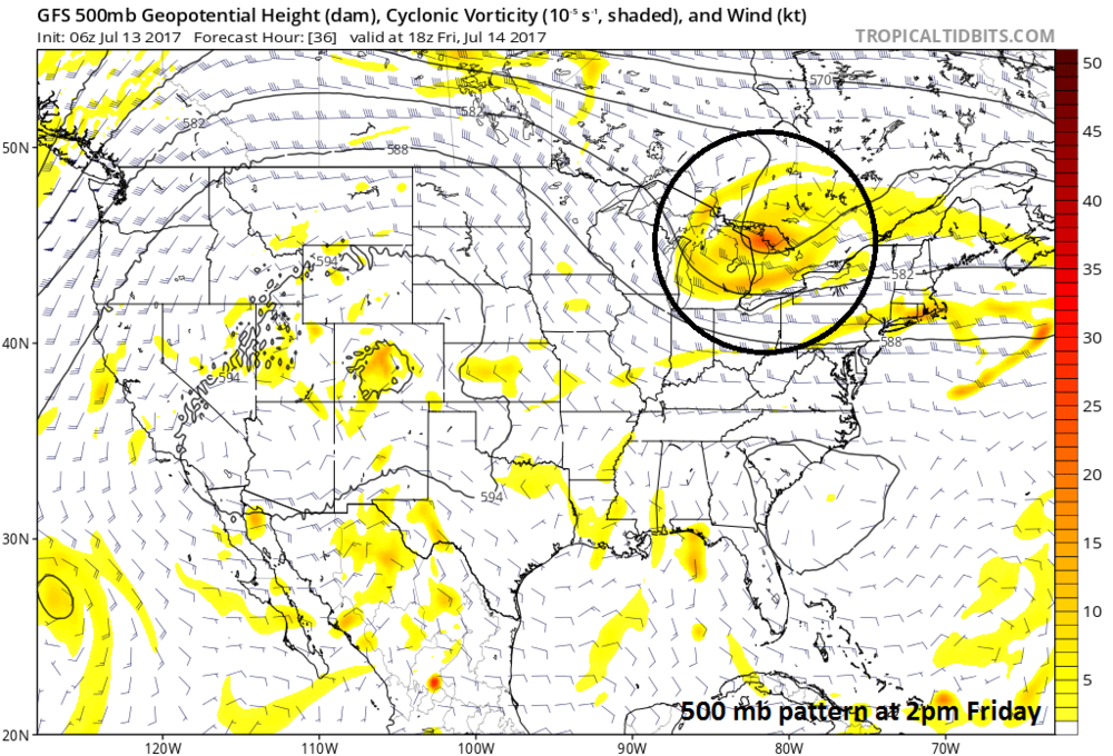 06Z GFS forecast map of 500 mb vorticity for 2pm on Friday; map courtesy tropicaltidbits.com, NOAA/EMC