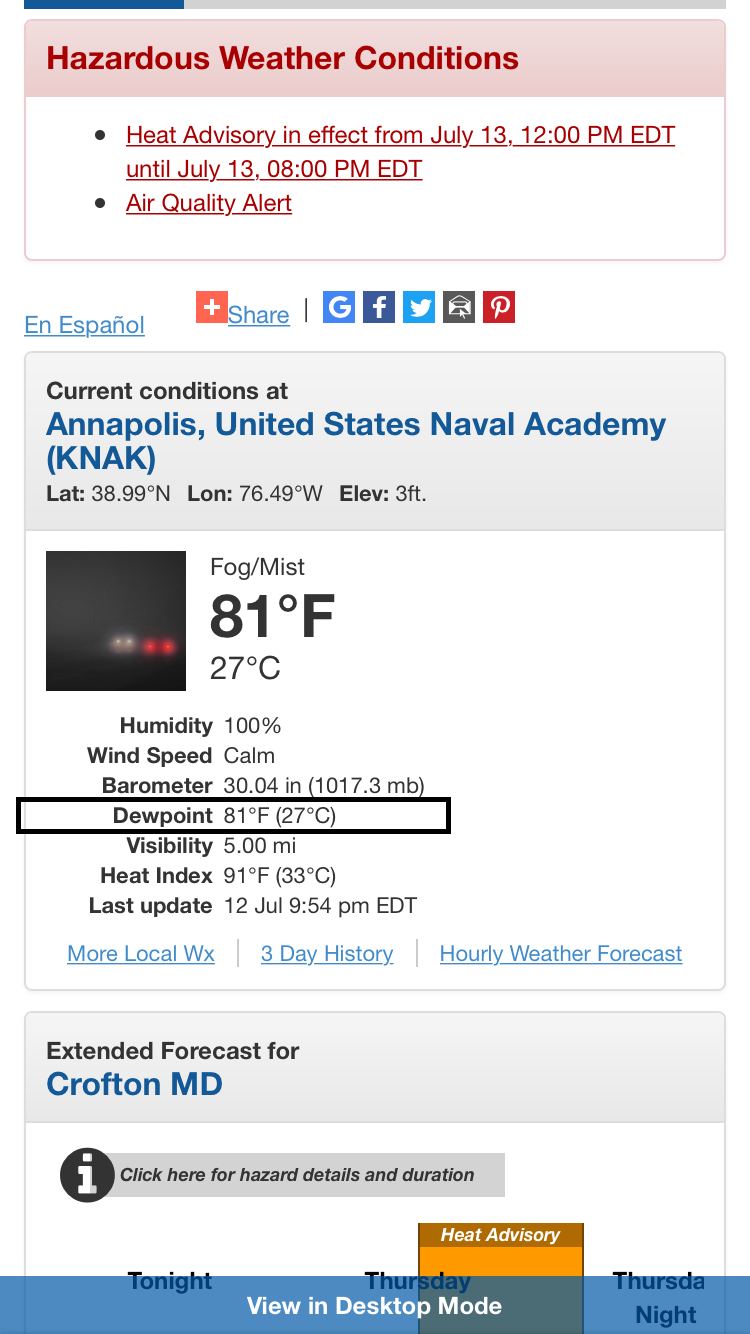 Quite an incredible dew point reading of 81 degrees recorded last night in Annapolis, Maryland; courtesy National Weather Service, NOAA/EMC employee Tracey Dorian