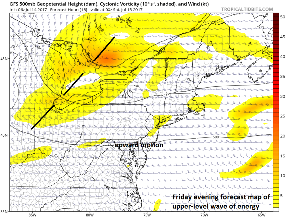 Upper-level wave of energy located over the Great Lakes by early tonight; courtesy tropicaltidbits.com, NOAA/EMC