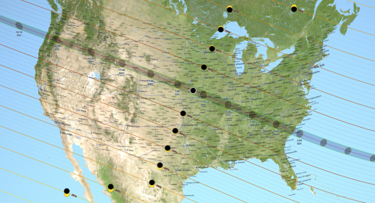 On August 21, 2017, the moon will pass between Earth and the sun in a total solar eclipse that will be visible on a path from Oregon to South Carolina across the continental United States. Map courtesy NASA