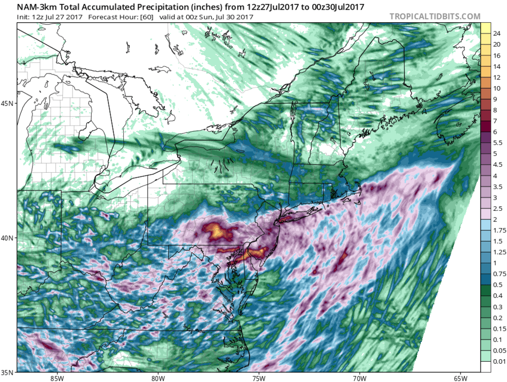 Total precipitation amounts between now and 8PM Saturday night according to the 12Z version of the high resolution NAM model (3km).  Courtesy tropicaltidbits.com, NOAA/EMC