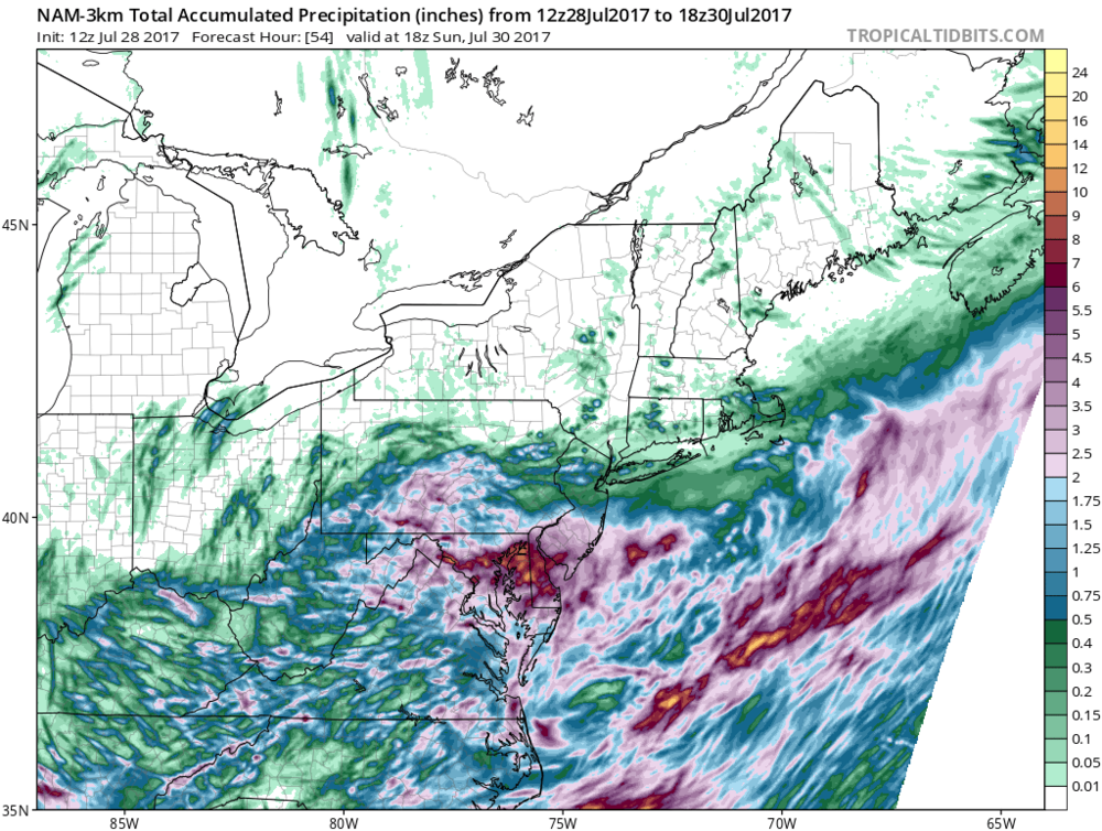 Total precipitation amounts for this storm as predicted by the 12Z NAM (3-km) computer forecast model; map courtesy tropicaltidbits.com, NOAA/EMC