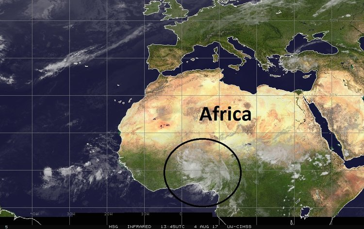 A third and impressive tropical wave can be seen in this infrared satellite image over Africa; image courtesy University of Wisconsin/CIMSS