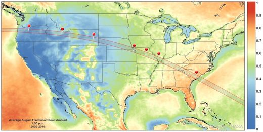 This map shows the path of totality overlaid on a statistical map of cloudiness for the month of August where the best places to be are shown in blue. Courtesy spaceweather.com and meteorologists Jay Anderson, Jennifer West