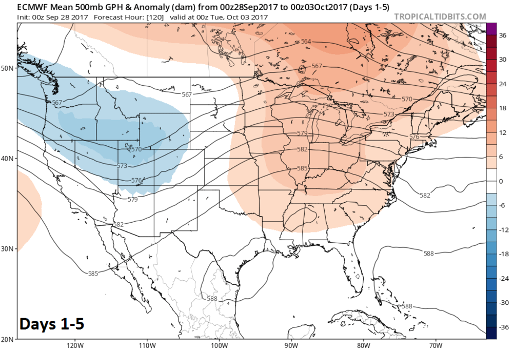 00z Euro Model Forecast Of 500 Mb Height Anomalies In Days 1 5 Featuring Strong