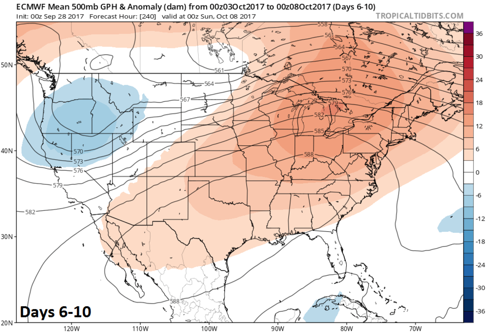 00z Euro Model Forecast Of 500 Mb Height Anomalies In Days 6 10 Featuring Strong