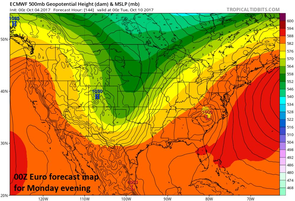 """00Z Euro forecast map for Monday evening with remains of """"Nate"""" over the Carolinas; map courtesy tropicaltidbits.com"""
