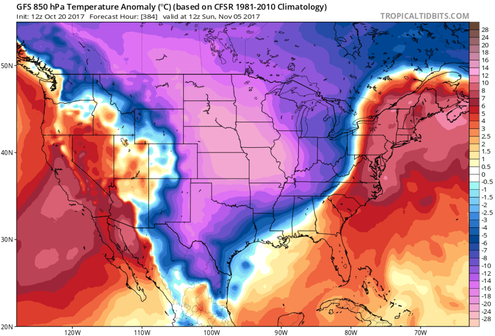 """Yes, this is a long range forecast (384 hours) by the 12Z GFS and still in the """" purely   speculation"""" phase; nonetheless, it is featuring a very impressive cold air outbreak for the first week of November in the middle part of the country. Map courtesy tropicaltidbits.com, NOAA/EMC"""