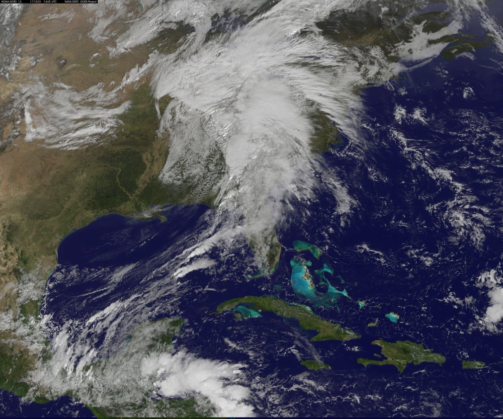 The latest satellite image features a very healthy looking system that is producing significant rainfall and embedded strong-to-severe thunderstorms for much of the eastern US; courtesy GOES