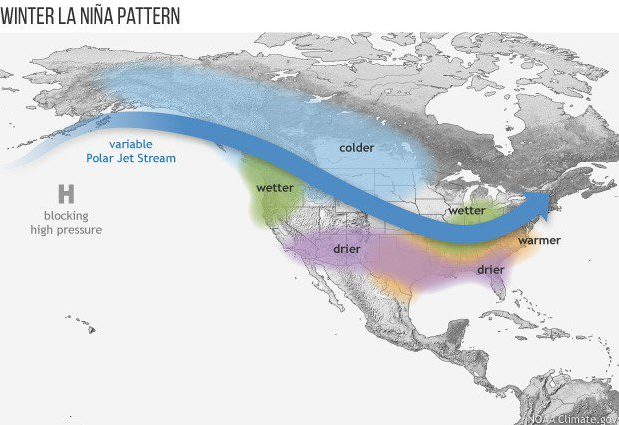 Typical La Nina winters result in colder-than-normal conditions across the Upper Midwest and Northern Plains and warmer-than-normal weather across much of the southern US; map courtesy NOAA
