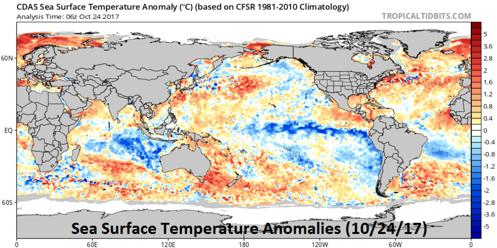 Sea surface temperature anomalies as of October 24, 2017; courtesy tropicaltidbits.com, NOAA