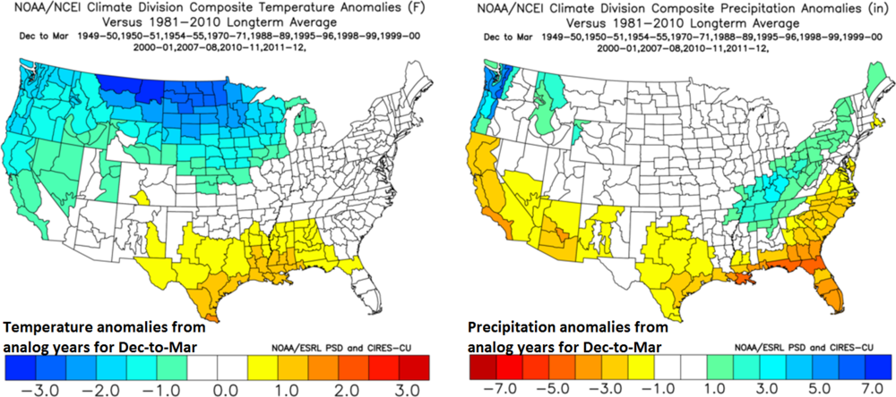 December-to-March temperature (left) and precipitation (right) anomaly patterns for my chosen analog years; composite plots courtesy NOAA