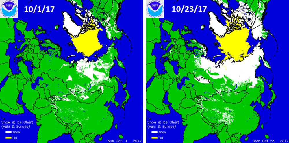 Change of snow cover (white areas) in Siberia between October 1st (left) and October 23rd (right); data courtesy NOAA
