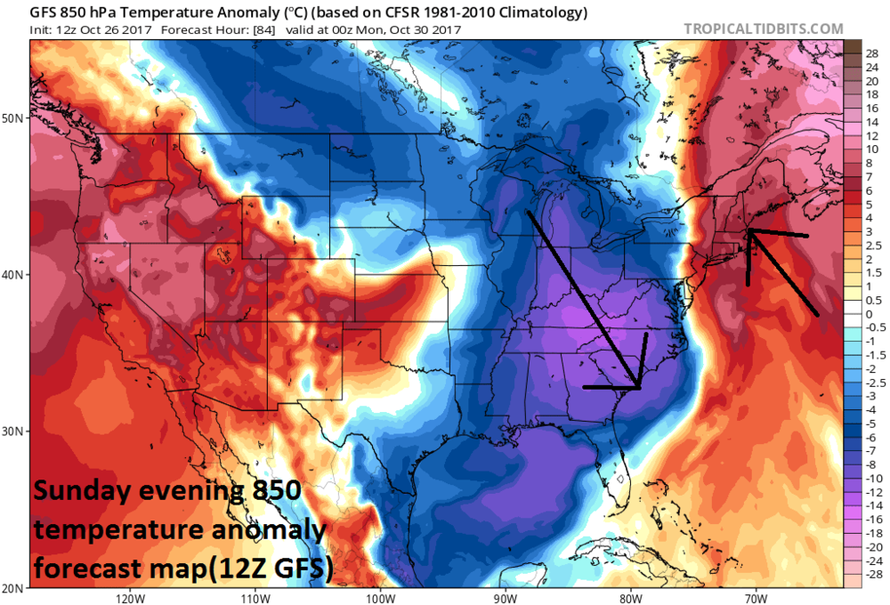 12Z GFS forecast map of 850 mb temperature anomalies on Sunday evening with cold air pouring in on the west side of the coastal storm and warm, tropical air its east side; courtesy tropicaltidbits.com, NOAA/EMC