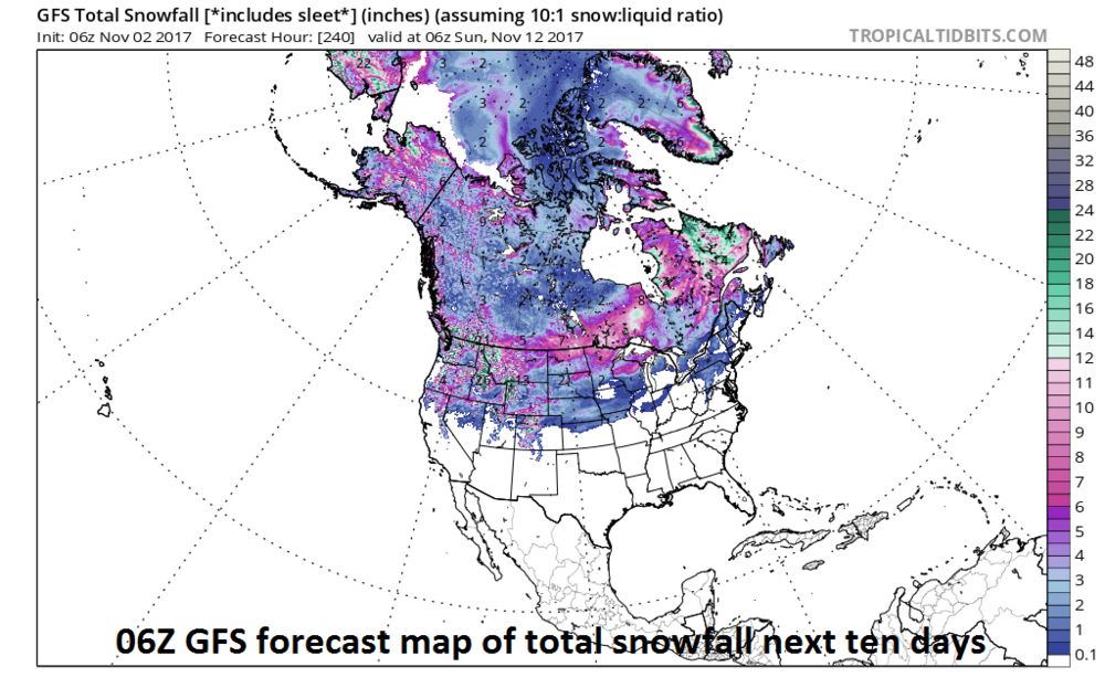 """06Z GFS forecast map of """"total snowfall"""" next ten days with widespread accumulation predicted in Canada; map courtesy tropicaltidbits.com, NOAA/EMC"""