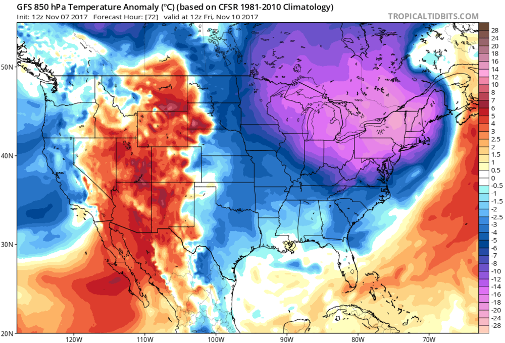 12Z GFS forecast map of 850 mb temperature anomalies on Friday morning as Arctic blast charges into the Northeast US; courtesy tropicaltidbits.com, NOAA/EMC